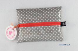 """Feuchttücher-Tasche """"Stars"""" grau (Reissverschluss in orange)"""