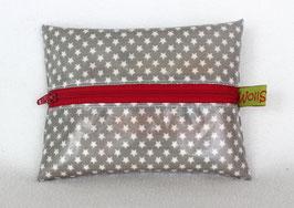 """Feuchttücher-Tasche """"Stars"""" grau (Reissverschluss in rot)"""