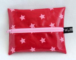 """Feuchttücher-Tasche """"Stars"""" rot / rosa"""