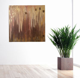 Gemälde mit Tigerauge und Gold