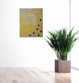 Gemälde mit Tigerauge und Weißgold