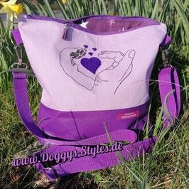 """Handtasche """"Herz, Hand & Pfote"""" in lila"""
