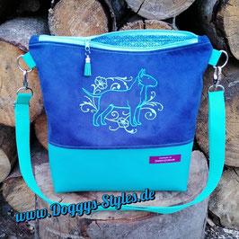 """Handtasche """"Bullterrier-Schnörkel"""" in Blau-Türkis"""