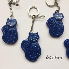 Porte clé Chat Strass bleu foncé