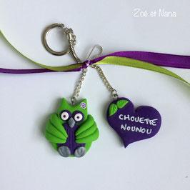 Chouette nounou... cadeau nounou... vert et violet (ref. RAA)