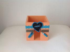 Bloc cube pour papiers prise de note... orange (pêche abricot) et turquoise
