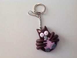 Porte clé, Chouette, Hibou, marron, rose pale