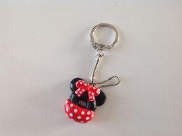 Porte clé Donut noir avec noeud rouge à pois blanc