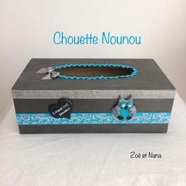 Chouette Nounou... boite à mouchoirs... gris anthracite & bleu turquoise