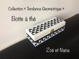 Boite à thé, tendance géométrique, scandinave, avec compartiments, triangle... noir & blanc