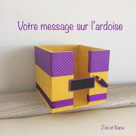 Bloc cube personnalisé jaune et violet (ref. JV)