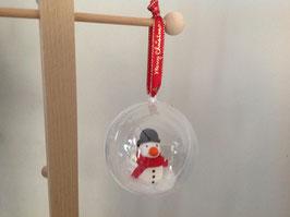 Boule personnalisée pour décorer votre sapin... bonhomme de neige