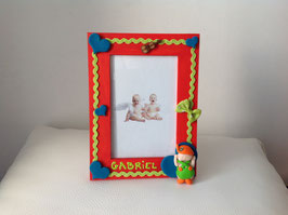 Cadre pour photo bébé garçon orange, bleu, vert