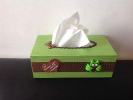 Cadeau Nounou, Boite à mouchoirs, ... Ma Nounou est super Chouette... vert anis & chocolat