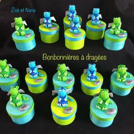 Bonbonnières à dragées, Dragons, vert anis & bleu