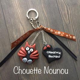 Cadeau NOUNOU, Chouette Nounou, Porte clé, bijou de sac... cuivré & noir... (ref. 6/01)
