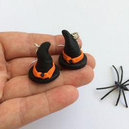 Boucles d'oreilles Halloween, Chapeaux de sorcière, noir & orange