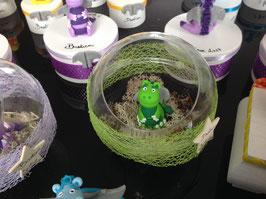Boule ouverte... décoration... bonbonnière... centre de table - Dragon vert