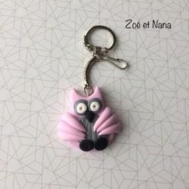 Porte clé Chouette rose Pastel & gris