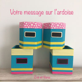 Pot à crayons personnalisé... cadeau Maitresse... Bleu jaune rose... ref. ODI