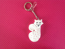 Porte clé, Chat, blanc, strass roses