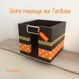 Bloc cube personnalisé Marron et orange ... ref. ORR