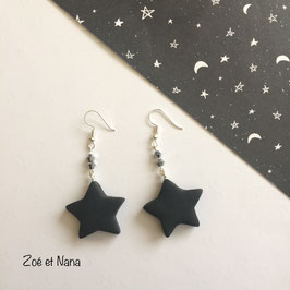 Boucles d'oreilles, étoiles, noires