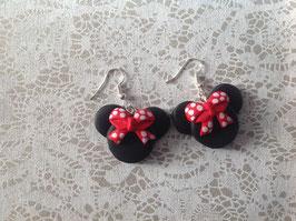 """Boucles d'oreilles rouge et noir """"Flora"""""""