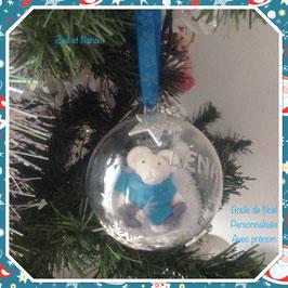 Boule de Noel personnalisée avec prénom, ourson blanc et turquoise... ref. LENA