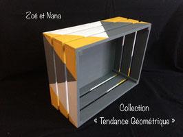 Cagette, Caisse de rangement en bois, triangle, géométrique, jaune, gris blanc