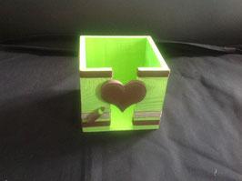 Bloc cube bureau... personnalisé... cadeau école... vert anis & chocolat