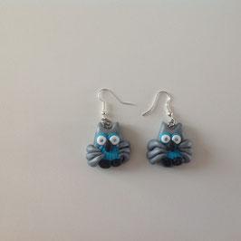 Boucles d'oreilles Chouettes gris, bleu turquoise & noir
