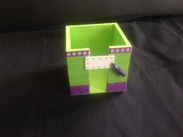 Bloc cube, personnalisé, cadeau école, vert anis & violet... (ref. Fresh)