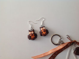 Boucles d'oreilles, Chouettes, hibou, marron, orange