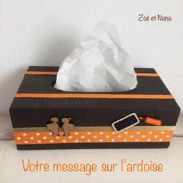 Boite à mouchoirs personnalisée ... marron & orange... ref. ECOLIERS
