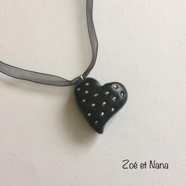 Collier Coeur Noir & strass