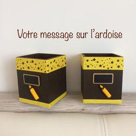 Pot à crayons personnalisé... Marron & jaune... etoiles