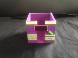 Bloc cube... personnalisé... cadeau école... prune & vert anis