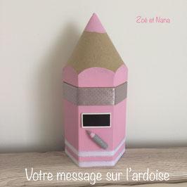 CRAYON Pot à crayons personnalisé rose pastel