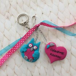 Chouette Nounou... Porte clé bijou de sac... turquoise & rose