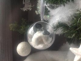 """Pole Nord... Boule ouverte """"igloo & bébé phoque""""... blanc et argenté"""