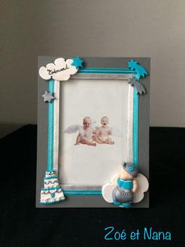 Cadre personnalisé avec prénom, bébé, garçon, gris et turquoise, nuage
