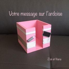 Bloc Cube... Rose Pastel & gris... (ref. Mamirina)