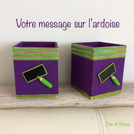 Pot à crayons personnalisé... violet et vert... (ref. AAA)