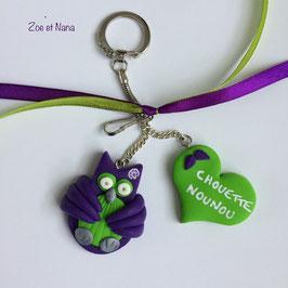 Chouette Nounou... violet & vert... (ref. VV)