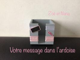 Bloc cube bureau, gris & rose pastel