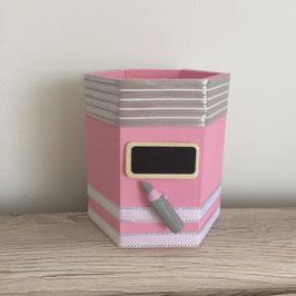 Pot à crayons personnalisé rose pastel... ref. JUIN10