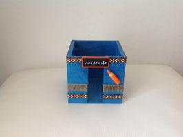 Cadeau Ecole : Bloc cube bleu orange