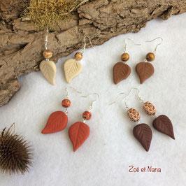 Boucles d'oreilles feuilles Natura Terracotta perle