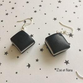 Boucles d'oreilles, Réglisses carrés, noir & blanc